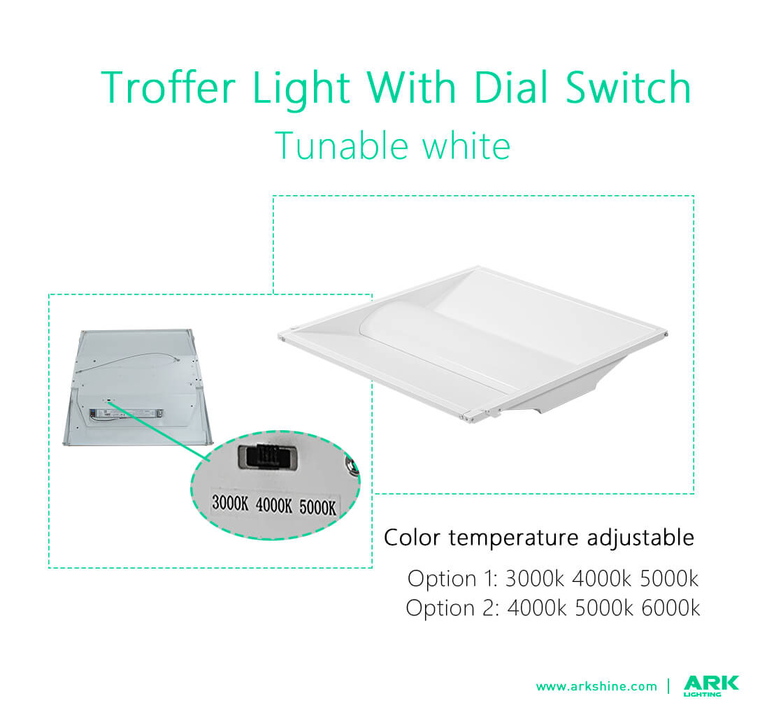 Troffer lights fixture with dial switch