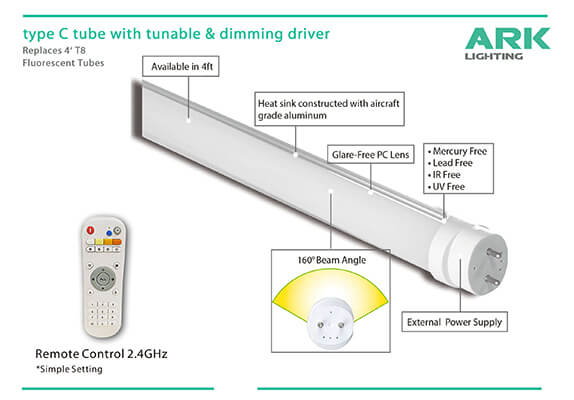 Latest smart light, type c led tube with 2.4GHz smart control system