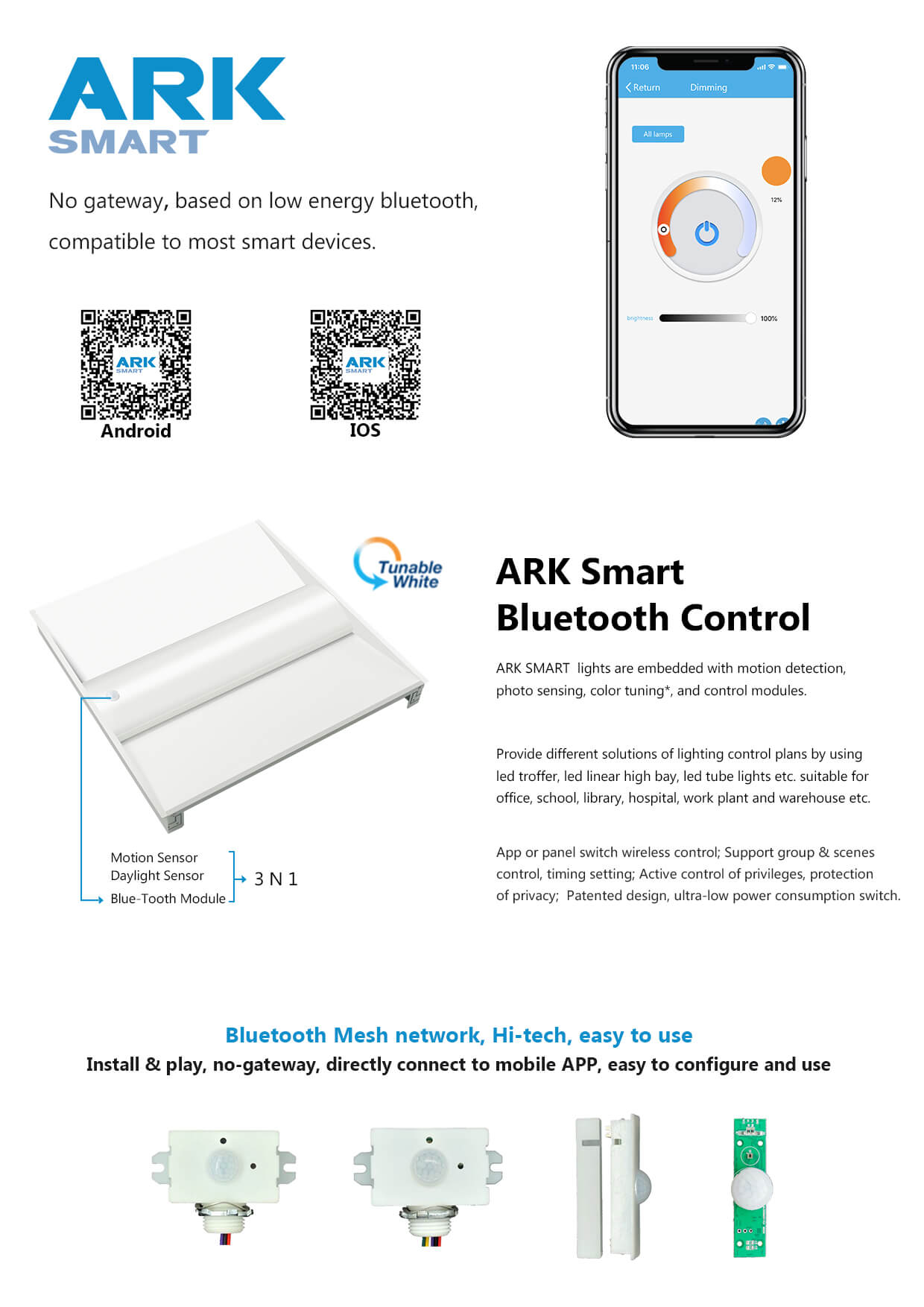 Smart Bluetooth tunable white led troffer retrofit kit