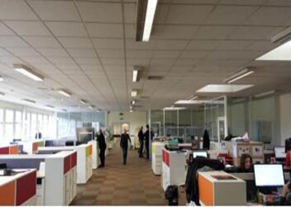 Office troffer lighting project in France